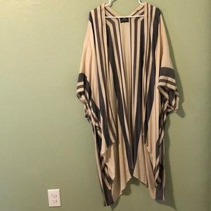 Angie Long Oversized Cardigan with Stripes XL